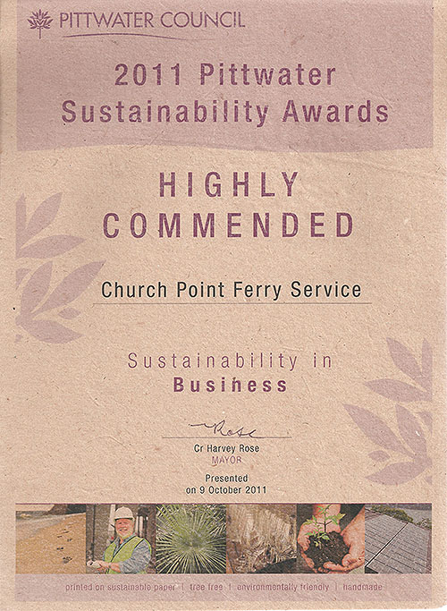 2011 Pittwater Council Sustainability Awards: Highly Commended for the Church Point Ferry Service